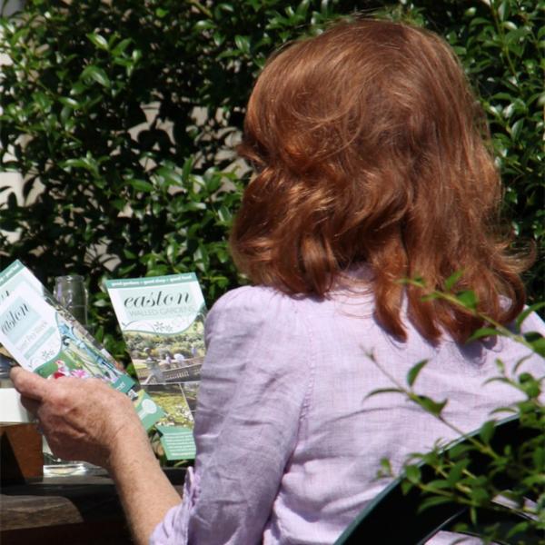 Lady reading Easton leaflet