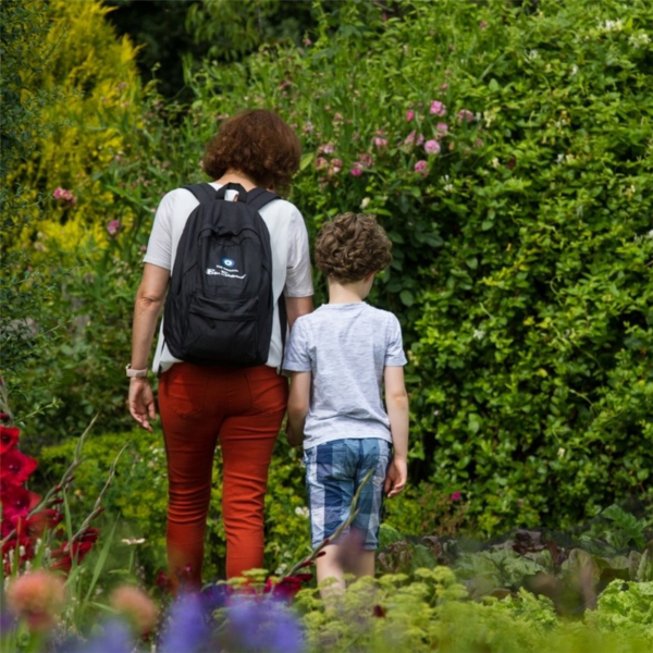 Family enjoying the gardens