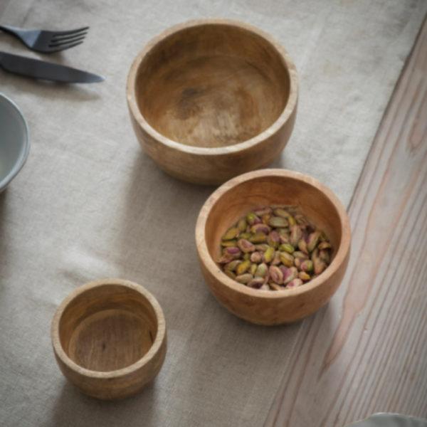Set of three mango wood bowls